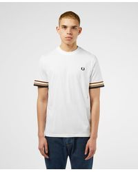 Fred Perry Multi Stripe Short Sleeve T-shirt - Exclusive - White