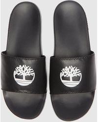 Timberland Logo Sport Slides - Black