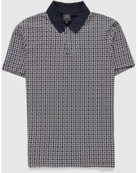 Armani Exchange All Over Square Ax Polo Shirt - Blue