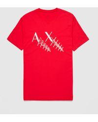 Armani Exchange Neon Logo T-shirt - Red