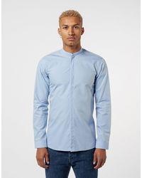 HUGO Enrique Long Sleeve Grandad Shirt - Blue