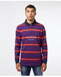 Guess Rugby Stripe Long Sleeve Polo Shirt - Multicolor