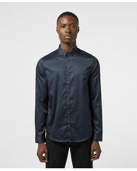 Armani Exchange Signature Logo Long Sleeve Shirt - Blue