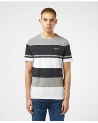 Guess Colour Block Stripe Short Sleeve T-shirt - White