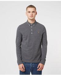 Farah Ricky Long Sleeve Polo Shirt - Grey