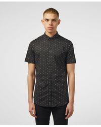 Armani Exchange Polka Dot Short Sleeve Shirt - Black