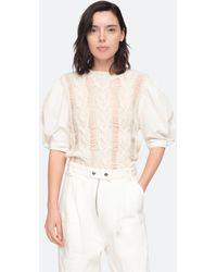 Sea Clarise Combo Sweater - White