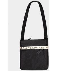 A.P.C. Repeat Logo Black Pouch Bag