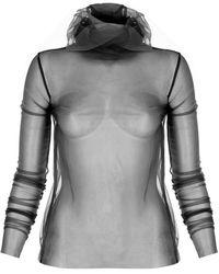 SELEZZA LONDON Tulle Transparent Blouse - Black