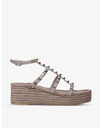 Valentino Garavani Rockstud Leather Flatform Sandals - Multicolor