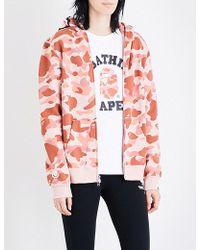 A Bathing Ape | Ladies Pink Camo Printed Exposed Zip Shark Hood Camo-print Cotton-jersey Hoody | Lyst