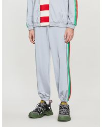 Gucci Striped-sides Iridescent Stretch-jersey jogging Bottoms - Blue