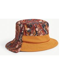 JW Anderson Marble-print Asymmetric Woven Bucket Hat - Red