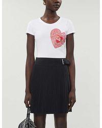 Love Moschino Doily Heart-print Cotton-jersey T-shirt - White