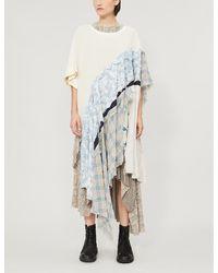 WEN PAN Contrast-panel Asymmetric Cotton T-shirt - Natural