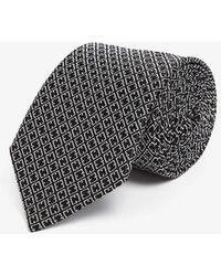Lanvin Geometric-print Silk Tie - Black
