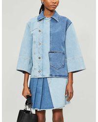 McQ Pleated High-waist Denim Skirt - Blue