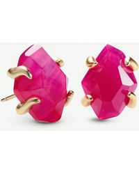 Kendra Scott Inaiyah 14ct Gold-plated And Pink Agate Earrings - Metallic