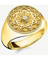 Thomas Sabo Vintage Compass 18ct Yellow Gold-plated And Diamond Signet Ring - Metallic