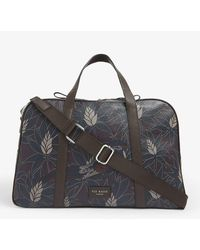 Ted Baker Fernand Printed Leather Holdall - Blue
