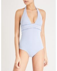 Heidi Klein - Blue Embroidered Cassis Smocked Swimsuit - Lyst