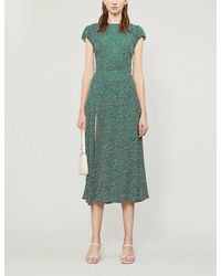 Reformation Gavin Floral-print Crepe Midi Dress - Green