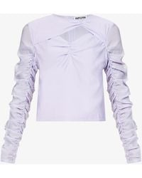 Amy Lynn Beja Long-sleeved Cut-out Shell Top - Purple