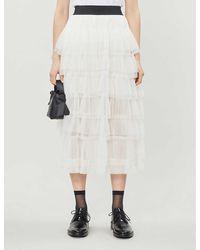 Maje Tiered Ruffle Mesh Midi Skirt - White