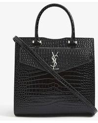 Saint Laurent Uptown Cabas Crocodile-effect Leather Tote - Black