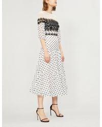 Temperley London - Lace-panelled Polka Dot Cotton-blend Midi Dress - Lyst