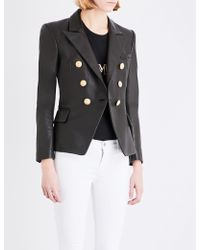 Balmain - Double-breasted Leather Suit Jacket - Lyst