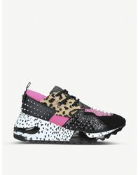 Steve Madden Cliff Leather And Mesh Wedge Trainers - Multicolour