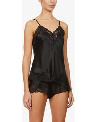 Nk Imode Morgan Floral Lace-trimmed Silk Top - Black