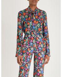 Etro - Floral-print Neck-tie Crepe Shirt - Lyst
