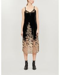 The Kooples Maxi, Slip, Velvet Dress With Lace Neckline And Burnout Floral Print On Skirt - Black