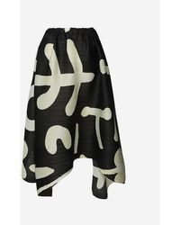 Pleats Please Issey Miyake Loose Graphic-print Pleated High-waisted Woven Midi Skirt - Black