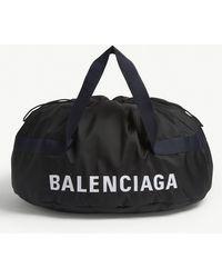 Balenciaga Black Embroidered Logo Wheel Bag