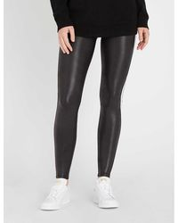 Spanx Side-stripe Faux-leather leggings - Black