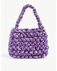 Miista Theodore Knotted Satin Mini Tote Bag - Purple