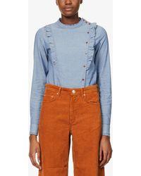 Sessun Dr March Ruffled Cotton Blouse - Blue