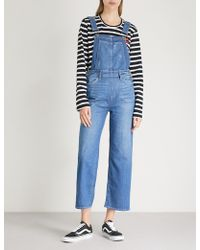 PAIGE - Nellie Distressed Stretch-denim Dungarees - Lyst