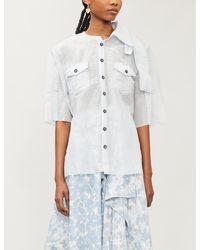 WEN PAN Cut-out Asymmetric Silk-blend Shirt - White