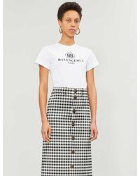 Balenciaga Women's White Logo-print Cotton-jersey T-shirt