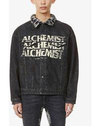 Alchemist Too Young To Die Fleece-collar Denim Jacket - Black