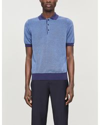 Canali Geometric-pattern Cotton-knit Polo Shirt - Blue