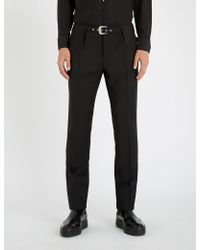 Givenchy - Belted Straight-let Mohair And Wool-blend Trousers - Lyst
