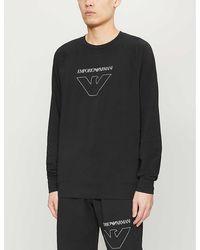 Emporio Armani Thin Eagle Stretch-cotton Sweater - Black