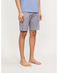 Hanro Geometric-print Cotton Pyjama Bottoms - Blue