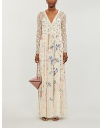 Needle & Thread Needle & Thread X Jasmine Hemsley Elements Embroidered Recycled-tulle Gown - Natural