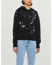 Helmut Lang Branded Graphic-print Cotton-jersey Hoody - Black